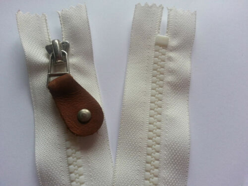 """Cream Zip Zipper Closed End Heavy Duty  Zip 21/"""" 53 cm With Leather Puller"""