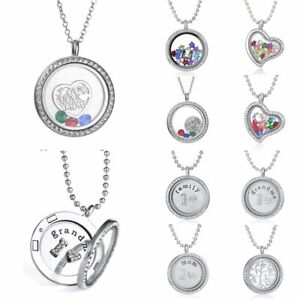 Tree-Heart-Love-Mom-Colorful-Crystal-Photo-Frame-Locket-Pendant-Necklace-Jewelry