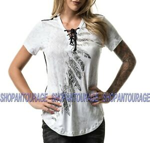 39a81f078a673 Details about Affliction Rina AW20077 New White Tie Up Lace Graphic Fashion  S/S Top For Women