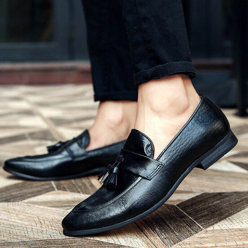 Mens shoes Pointy Toe Slip On Business Dress Formal shoes Leather Tassel 2019 YH