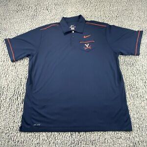 UVA Virginia Cavaliers Nike Dri-Fit Blue Polo Shirt Mens Size 2XL XXL