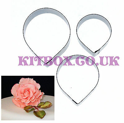 Kit Box - Rose Petals Large 3 Set - Stainless Steel Cutters For Cake Decorating