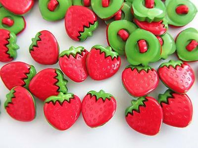 20 Kids Collection Fruit Plastic Sewing Button//Trim//Shank//Red Sb84-Strawberry