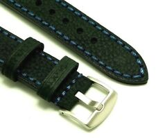 22mm Black Oily Cowhide Leather Blue Stitching Replacement Watch Strap - Citizen