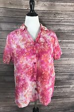 Dressbarn Womens Top Size 1X Plus Pink Orange White Floral Button Down Hawaiian