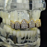 18k Gold Plated Grillz Top Cz Iced-out Cubic High Quality Micro Pave Teeth Grill