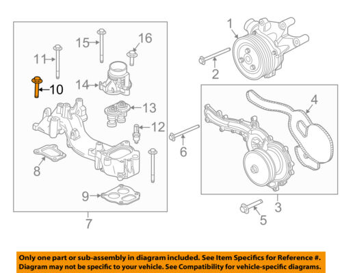 FORD OEM Water Pump-Outlet Tube Bolt W503280S437