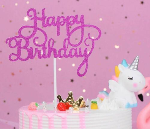15x Nouveau Happy Birthday Cake Toppers Glitter Calligraphie Bling Sparkle Décoration