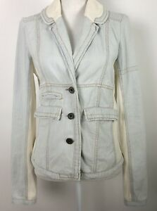 Free-People-Sz-10-Coat-Jacket-Blazer-Blue-White-Pinstripe-with-Pockets-Buttons