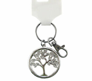 Silver-Tone-Tree-of-Life-Key-Ring-Sparkle-Glitter-Bling