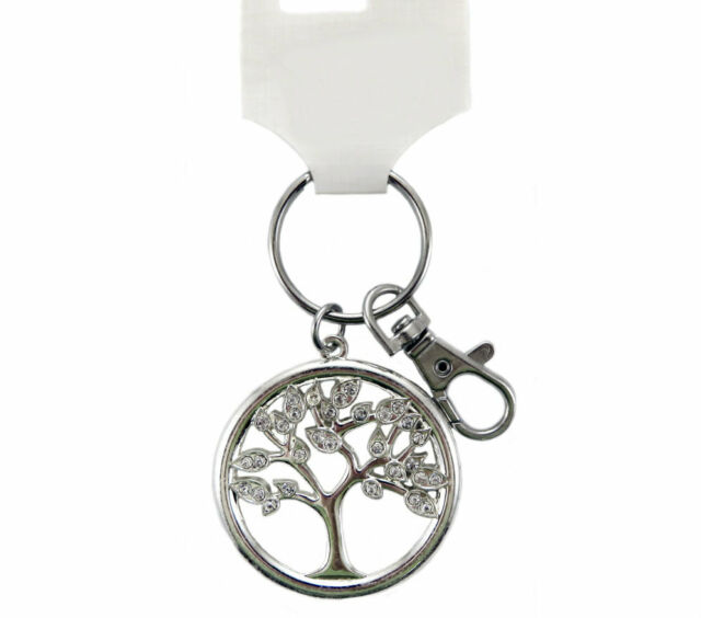 Silver Tone Tree of Life Key Ring Sparkle Glitter Bling