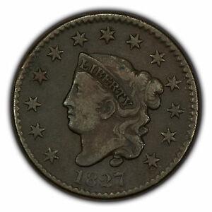 1827 1c Coronet Head Large Cent - Mid-Grade Semi-Key Date - SKU-X1552