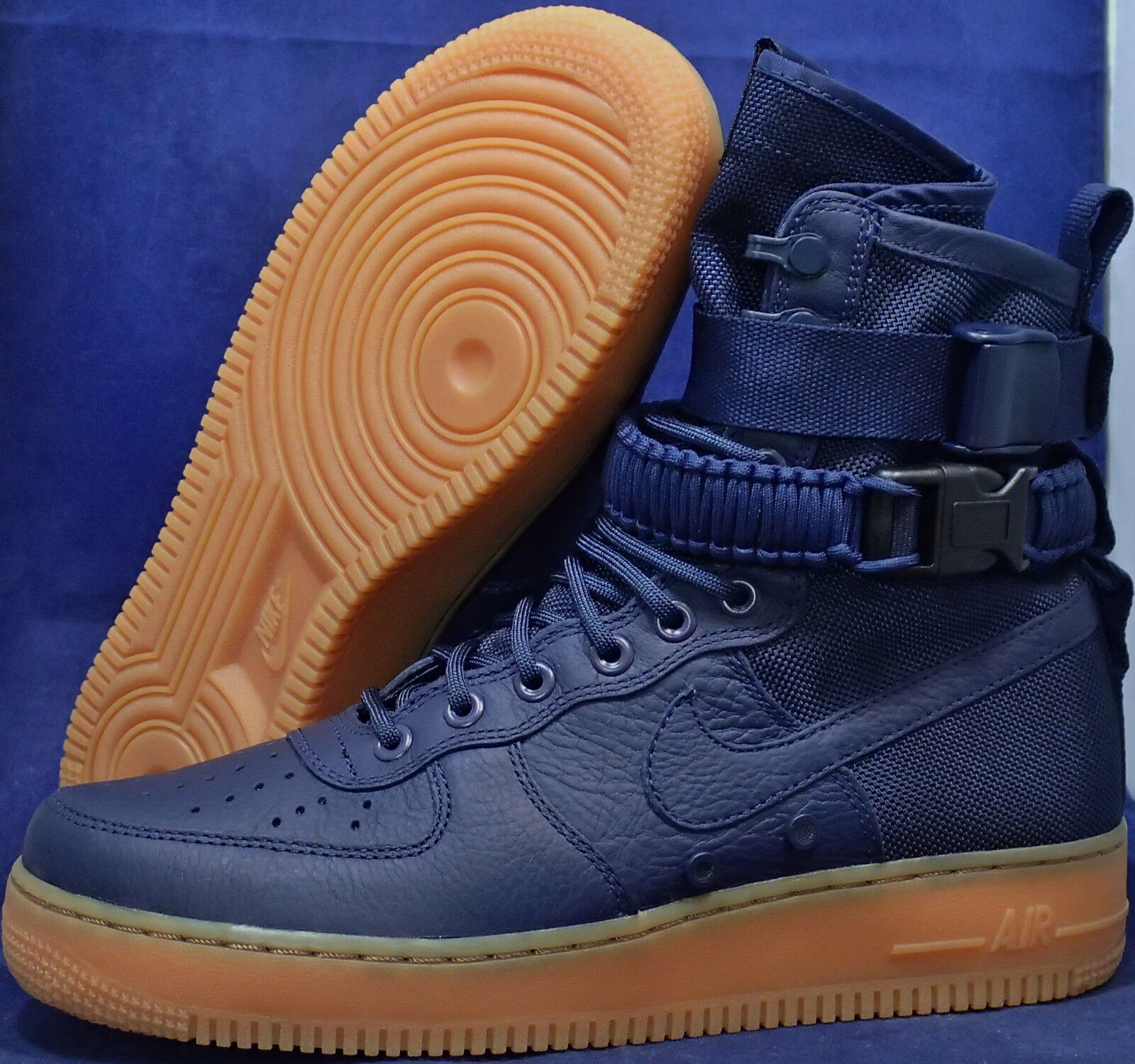 Nike SF Air Force 1 Midnight Navy Blue Gum AF1 SZ 8.5 ( 864024-400 )