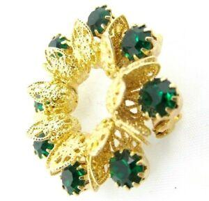 Vintage-Green-Prong-Set-Rhinestone-Circle-Brooch-1-5-034-Goldtone