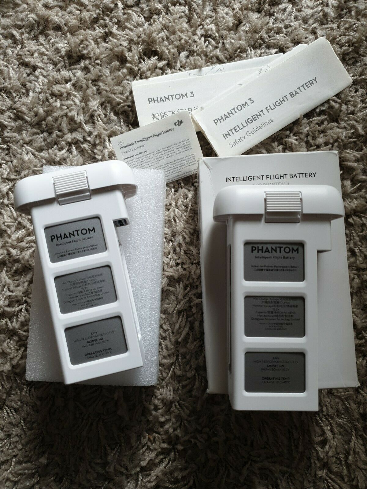 2 Dji Phantom 3 Battery 15.2v SEE PICS 1 WITH BOX 1WITHOUT LOOK UNUSED