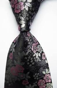 New-Classic-Floral-Black-Pink-White-JACQUARD-WOVEN-100-Silk-Men-039-s-Tie-Necktie