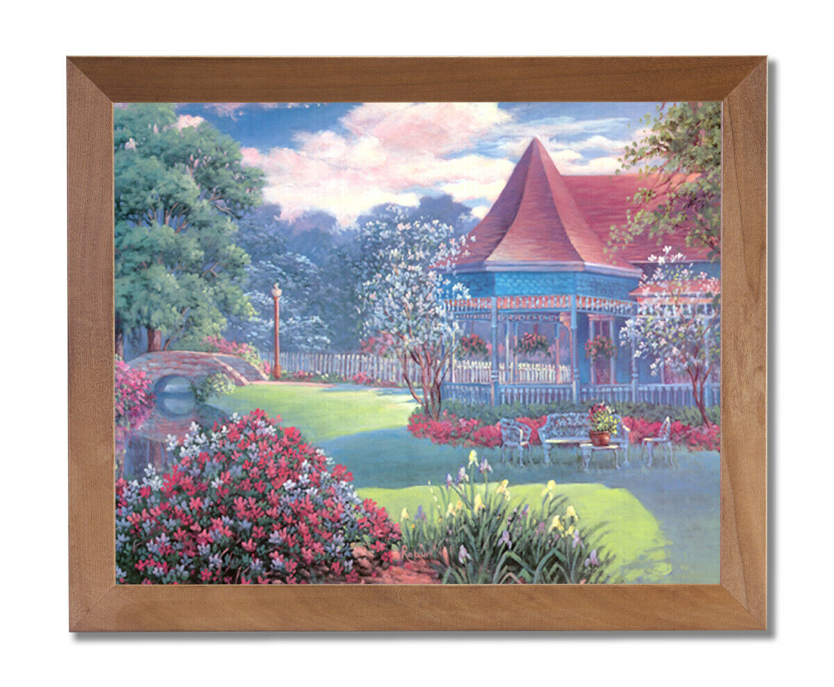 Victorian House Flowers Lake Landscape Wall Picture Honey Framed Art Print