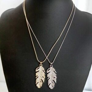 Women-Glamour-Crystal-Rhinestone-Feather-Leaf-Pendant-Chain-Necklace-Jewelry
