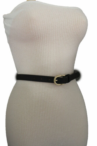 Women Skinny Black Fashion Belt Narrow Faux Leather Bronze Studs Gold Buckle S M