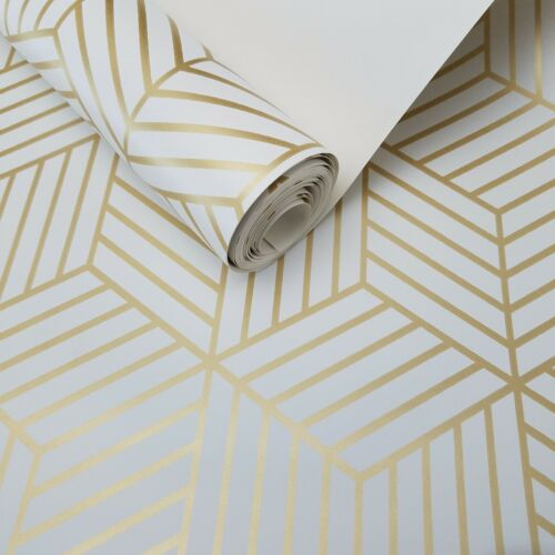 Geometric Stripe Hexagon Peel and Stick White Gold Mid Century Modern Wallpaper