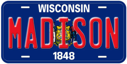 Wisconsin State Flag Aluminum Novelty Car License Plate