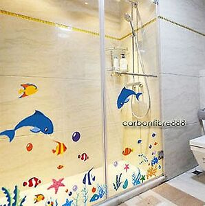 Dolphins-Fish-Coral-Ocean-SEA-REMOVABLE-Wall-Stickers-Bathroom-Kids-Room-Decals