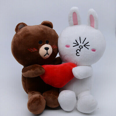 Line Friends Brown Bear and Cony Plush Doll  for Couples Lovers Valentine 2PCS