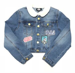 Denim Blue Jean Jacket Star Wars Rebel Snap Button Girls Youth Size 6/6X Small