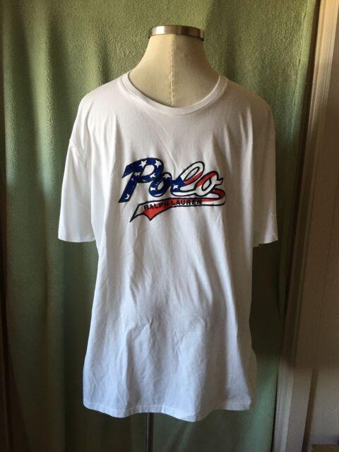 New 2XL XXL Polo Ralph Lauren Men American US Flag T-shirt Tee crew neck red top