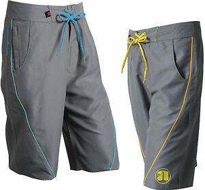 Nookie Boardies - Grey with Blue or Yellow - Board Shorts Surf Summer Beach