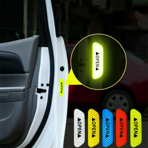 4Pcs Automobile Car Reflective Safety Warning Signs Tape Film Open Decal Sticker