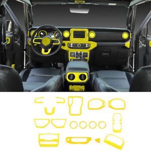 17pcs Interior Decoration Cover Trim Accessories For Jeep Wrangler JL 18+ Yellow