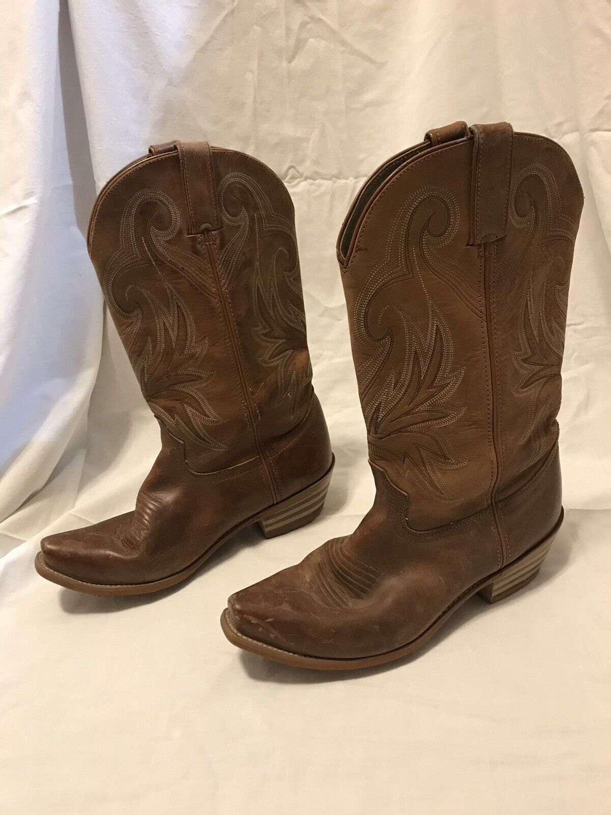 Durango Brown Leather Lady Snip Toe Cowgirl Cowboy Western Boots 9M RD4402