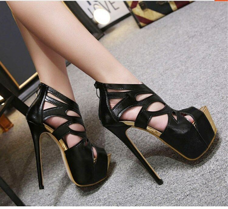 Women's Platform Stiletto Super High Heels Peep Peep Peep Toes Dress Evening Party Ball afd598