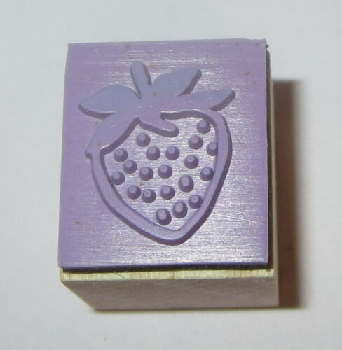 """Strawberry Rubber Stamp New Wood Mounted Fruit Food Berries 3//4/"""""""