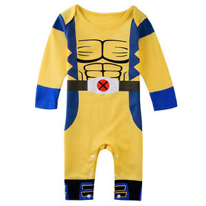 5bfff124b59b Baby Boy Wolverine Costume Romper Newborn X-man Playsuit Infant ...
