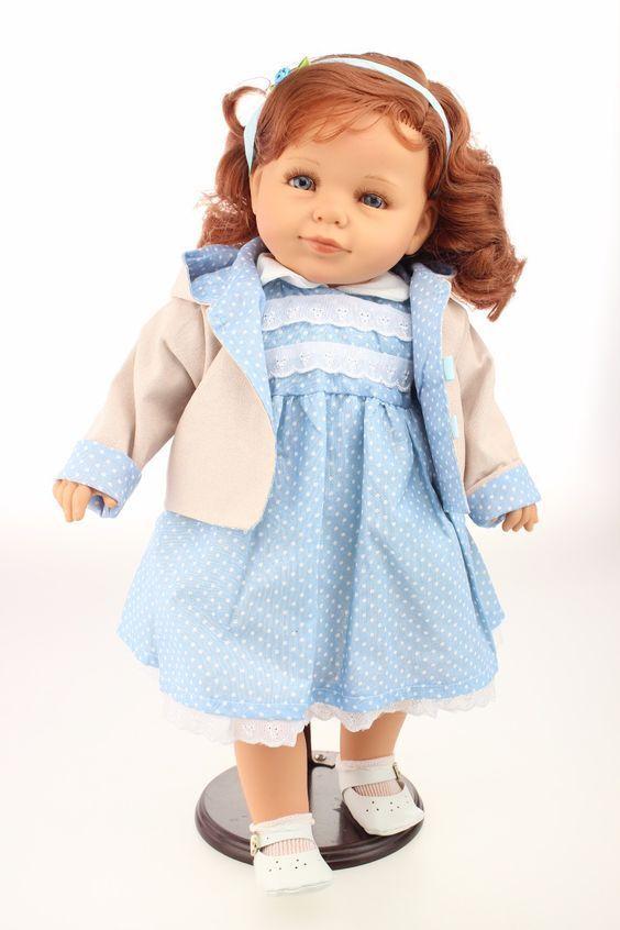Nueva Muñeca reborn niño hermosa pelirroja de Silicona Suave Vinilo 20  en Vestido Azul