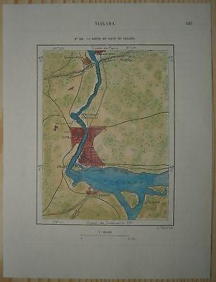 1890 Perron map NIAGARA FALLS AND GORGE, USA / CANADA (#101)