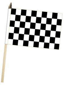 Verzamelingen Black and White Checkered Finish Line Large Hand Waving Courtesy Flag