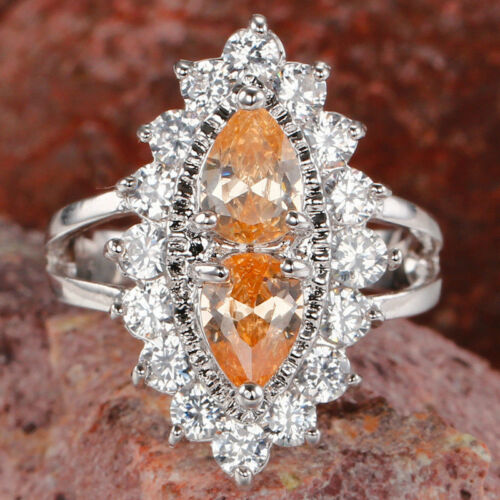 Superbe poire Cut Morganite /& WHITE TOPAZ GEMSTONES Silver Ring Taille 6 7 8 9 10