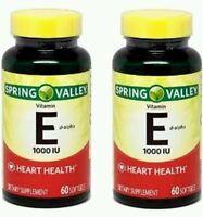 2x Spring Valley Natural Vitamin E D-alpha 1000 Iu 60 Softgels Each (120 Total)