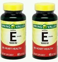 2x Spring Valley Natural Vitamin E D-alpha 1000 Iu 60 Softgels Each (120 Total)