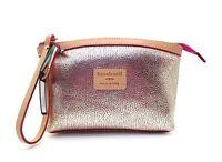 Cavalcanti Leather Clutch Bag Wristlet Strap Metallic Gold & Pink