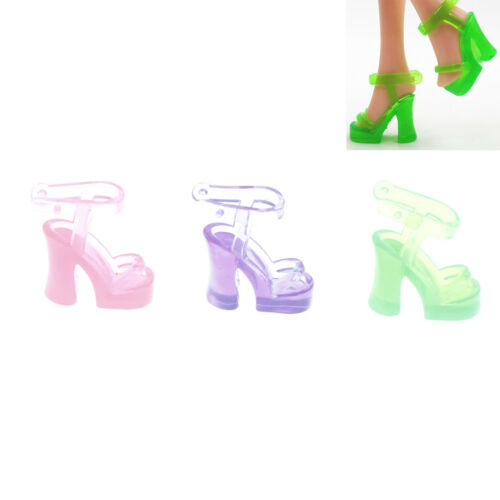 10 Pairs  Shoes Doll Jelly Crystal Shoes  Dolls Accessories Gift Fp