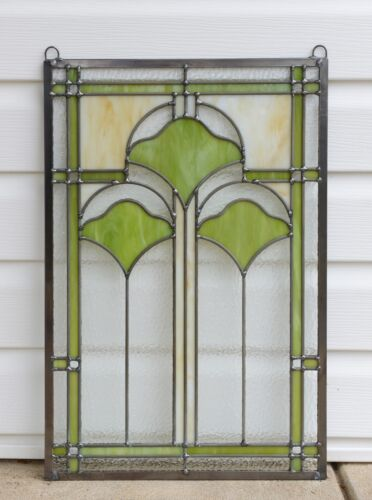 """15.25/"""" x 22.75/"""" Handcrafted Ginkgo style stained glass window panel"""