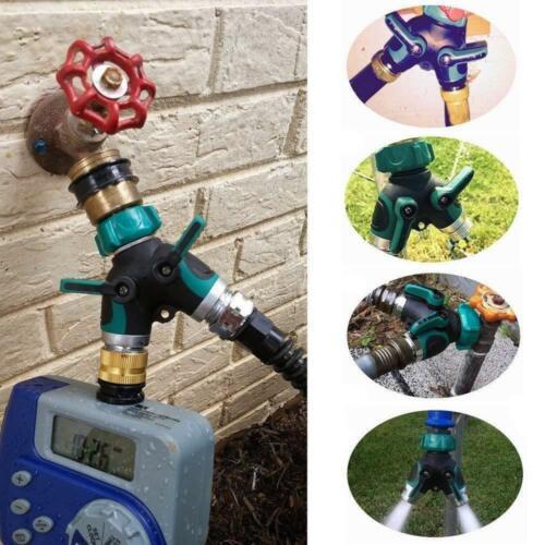 2-Way Water Splitter Garden Hose Connector Splitter Y Connector Water Valves HOT