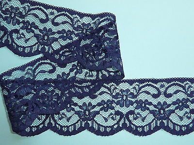 "5 METRES Navy Blue Cotton Broderie Anglaise Lace Trim 1/""//2.5cm Sewing TOP SELLER"