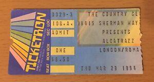 1984 ALCATRAZZ LONDON COUNTRY CLUB RESEDA CONCERT TICKET STUB YNGWIE MALMSTEEN