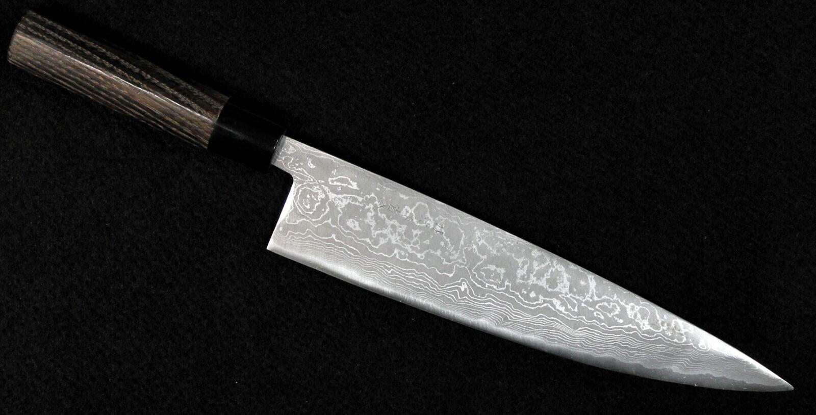 GEKKO Blau Steel Migaki Damascus Chef Knife 240mm Chestnut Handle  1426