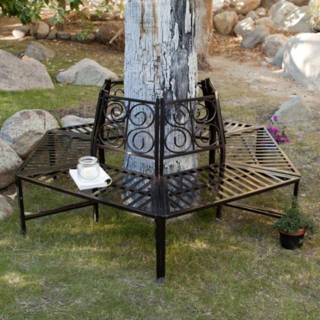Sensational Steel Outdoor Hexagon Tree Bench Wrap Around Seat Garden Backyard Furniture New Pdpeps Interior Chair Design Pdpepsorg